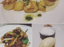 Delicious dinner of scallops with cauliflower puree Venison loin withhellip