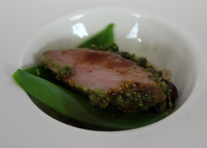 Celebrity Cruises pistachio crusted lamb loin