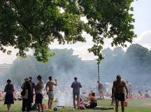 The scene at London Fields on this scorcher of ahellip